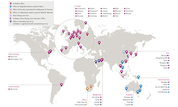 World map showing office locations