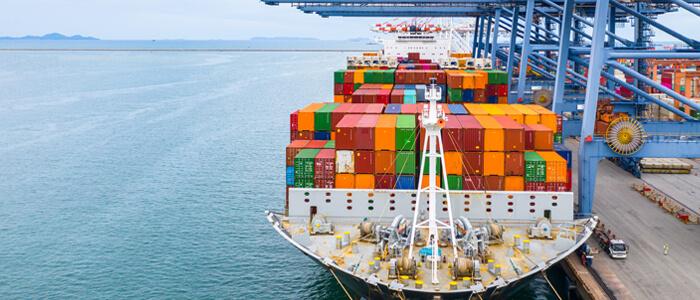 trade ship in docks