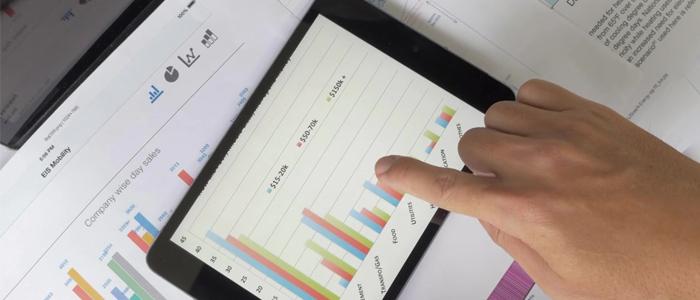 financial anlalyst reading charts