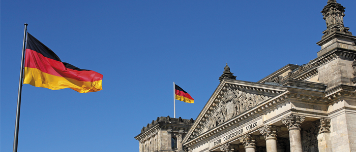 German flag outside Reichstag