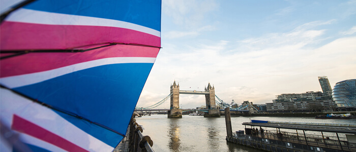 tower bridge and flag