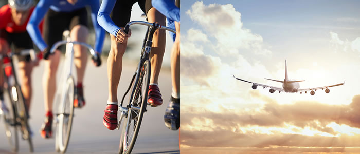 cyclist team on left, airline flying into sunset on right