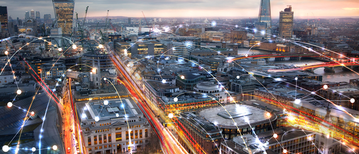 london skyline with business network light streams