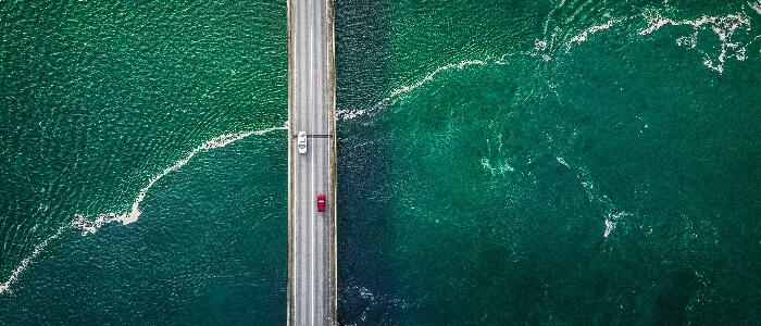 Aerial view of bridge